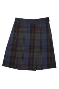 Plaid Kick-Pleat Skirt