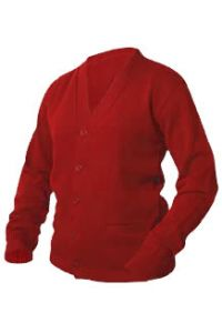 Red V-Neck Cardigan Sweater with Hartley