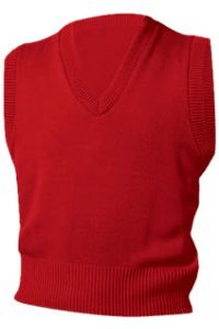 Red V-Neck Vest Sweater