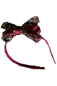 Performance Academies Plaid Thin Headband with Bow
