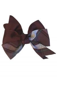 Plaid Bow with Ribbon on clip