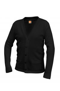 Black V-Neck Cardigan Sweater