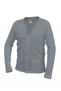Grey V-Neck Cardigan Sweater with NC
