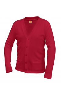 CLEARANCE - Red V-Neck Button Cardigan Sweater with LCCS Crest - Final Sale