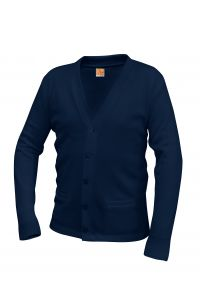 Navy V-Neck Button Cardigan Sweater with LCCS Crest