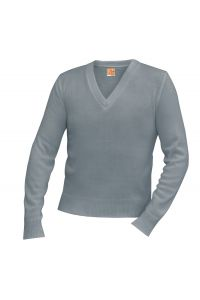 Grey V-Neck Pullover Sweater with NC