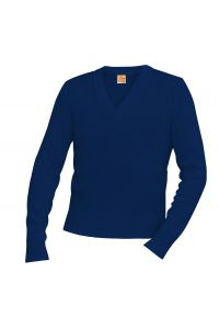 Navy V-Neck Pullover Sweater with LCCS Crest