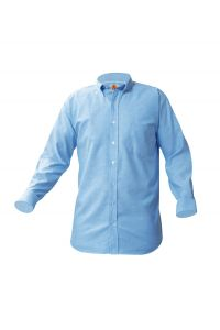 Girls Blue Long Sleeve Oxford Shirt