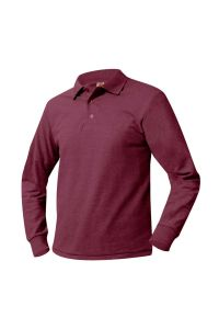 Maroon Long Sleeve Polo printed with CAA Crest
