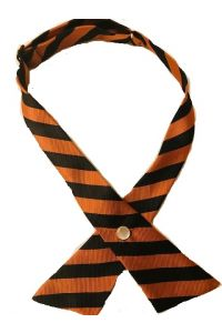 Orange and Black Stripe Girls Cross Tie