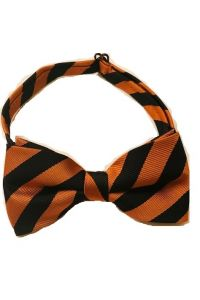 Orange and Black Stripe Boys Bow Tie