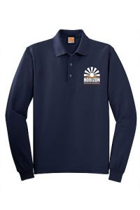 Navy Long Sleeve Polo printed with Horizon Science Academy